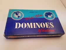 VINTAGE SET OF DOUBLE SIX WORLD WIDE DOMINOES BY HALSAM set 670 WOW