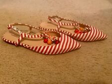 J.CREW STRIPED POINTED-TOE FLATS WITH CHAIN LINK SIZE 7M RED WHITE G4201