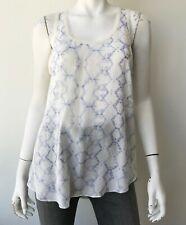 Rebecca Taylor White Silk Printed Tank Blouse Top Size 6