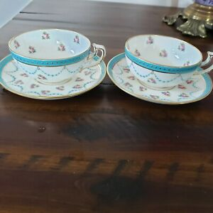 ANTIQUE MINTONS COLLAMORE JEWELED GOLD ROSES CUP & SAUCER