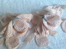 Vintage Lace Appliqués Floral Pink Insets 4pc Vintage Wedding Furnishings Decor