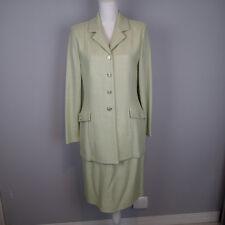 st.john BLAZER suit skirt cardigan jacket 8/10 mint green KNIT rhinestone BUT a