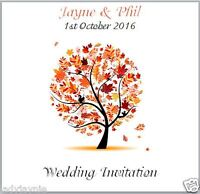 Pack of 10 Handmade Square Wedding Invitations - Autumn Tree - Personalised