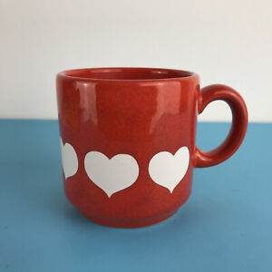 """Vintage Waechtersbach W. Germany Red / White Hearts Cup  Height 7 cm  2.75"""""""