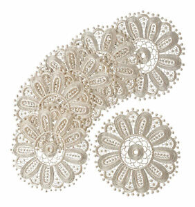 Cream Floral Lace Round Doilies Pack of 6 Traditional Table Dressing Home Mats