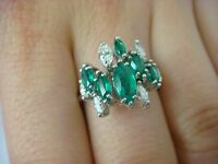 18K GOLD MARQUISE EMERALDS AND DIAMONDS HIGH QUALITY LADIES RING 5.3 GR SIZE 7
