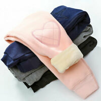 Kids Girls Warm Cotton Leggings Fleece Lined Pant Thermal Casual Stretch Trouser