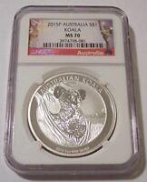 Australia 2015 1 oz Silver Dollar Koala MS70 NGC