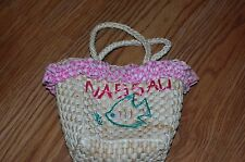 Vintage Straw Pocketbook Purse with Pink Gingham For Girls Souvenir from Nassah