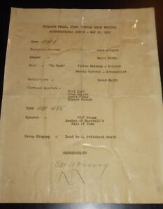1941 Cy Young Autographed Speaking Appearance Program JSA Certified Baseball HOF