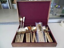 CEASER'S PALACE 24K  GOLD PLATED ROUND SWIRL HANDLE SVC 8-54PC FLATWARE & CHEST