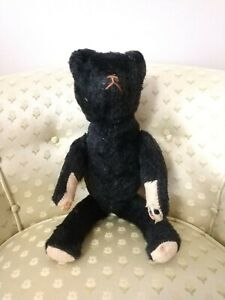 """1910-20s 18"""" BLACK Mohair Stick Bear Ideal? Teddy Bear Jointed American Toy"""