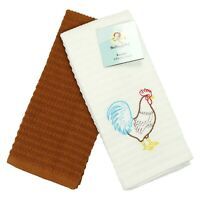 Kitchen Dish Towel Set of 2 - 16 x 26 - Embroidered Rooster Pattern - Cotton