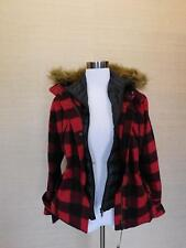 $1195 WOOLRICH FOR J.CREW WOOL PARKA $1195 XS Red Black Buffalo Plaid E2386