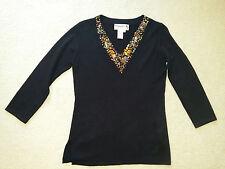 Joseph A. Womens Black Embellished Beads Stretch Knit Tank Top 3/4 Sleeve Sz. M