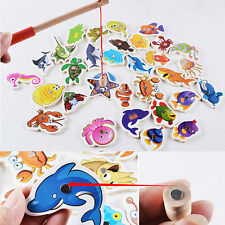 32Pcs Children Wooden Magnetic Fishing Game Bath Toy Fishing Rod For Kids Gift