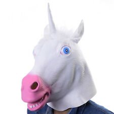 Latex Rubber Unicorn Horse Animal Head Mask Costume Theater Prop Novelty Cover