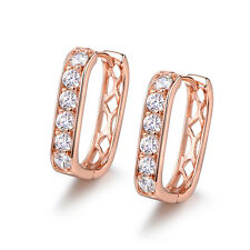 HUCHE Retro Rose Gold Filled Huggies Hollow Back Diamond Sapphire Lady Earrings