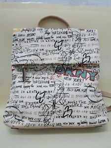 DKNY Tilly Graffiti Women's Multi-Color Faux Leather Foldover Backpack