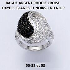 BAGUE RHODIE CROISE OXYDES BLANCS ET NOIRS + RD NOIR en Argent Massif 925