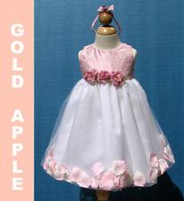 Holiday ,Infant Girl  Silk Petal Dress ,Pink/White Size: XL 18-24 Mo