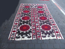 ANTIQUE UZBEK SILK HAND MADE- EMBROIDERED SUZANI 276x148-cm / 108.6x58.2-inches