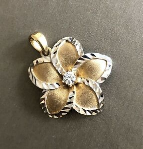 14ct Yellow Gold Solitaire Diamond Pendant 0.15ct Flower Necklace No Chain