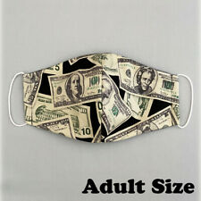 1 Piece Cotton Face Mask Reusable Adult One Size - Money Dollar Bills