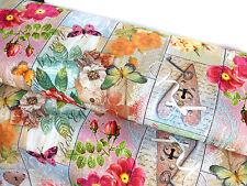 Canvas Baumwolle Stoff Bezugsstoff vintage Bretter Blumen Schmetterlinge 9114