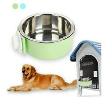 Hanging pet bowl. Plastic Bowl Stainless Steel Bowl Insert. Pastel Green. Small