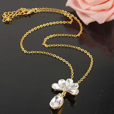 New Style Jewelry Gift 14kGold Filled Austrian Crystal Sapphire Pendant Necklace