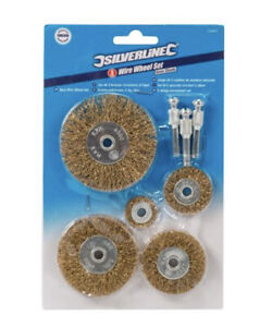 5pce Brassed Steel Wire Wheel Cup Set Rust & Paint Removal Use With Drill