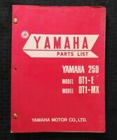 "1970 1971 YAMAHA ""MODEL DT1-E DT1-MX DIRT BIKE"" MOTORCYCLE PARTS CATALOG MANUAL"