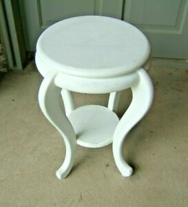 Shabby-Chic White Chalk Painted Wood Plant Stand/Table Two Tiers vintage