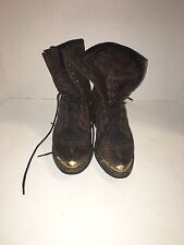 Vintage USA Abilene 2 Tone Leather Packer Boots Western Style Size 6 Brown