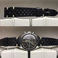 20 mm Black Leather Rally Strap armband bracelet for vintage speedmaster