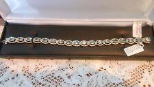 MY PERSONAL BLUE ZIRCON & DIAMOND BRACELET ! 14kY GOLD  22.37 TCW NWT APPRAISAL