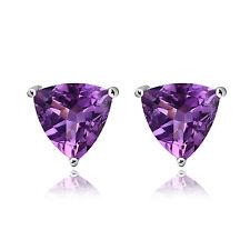 1.6ct Genuine Deep Purple Amethyst Trillion Solid Sterling Silver Stud Earrings