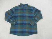 Eddie Bauer Button Up Shirt Adult Extra Large Blue Plaid Long Sleeve Casual Mens