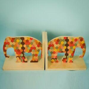 Wolfum Bookends Wood Elephant Geometric Print Kids Baby Nursery Room Decor Set