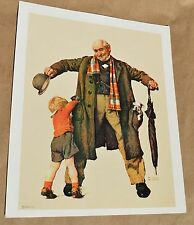 VTG Norman Rockwell Print Granddad The Surprise Gift Puppy in Pocket Little Boy