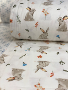 Bunny Rabbit  Brushed Flannel Cotton Fabric Premium quality Easter Fabric 240cm
