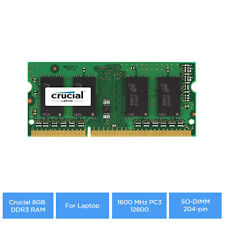 Crucial 8GB DDR3 RAM for Laptop 1600 MHz PC3-12800, SO-DIMM 204-pin, Unbuffered