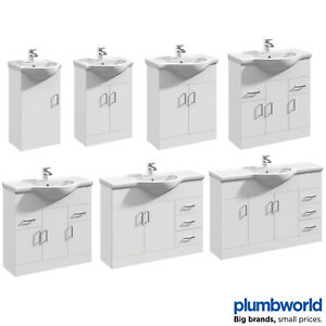 Classic Bathroom Vanity Unit Cloakroom Basin Sink Storage White Various Sizes