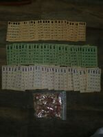 VINTAGE BINGO CARDS Milton Bradley EE Fairchild Corp Wooden Pieces Game 96 Cards