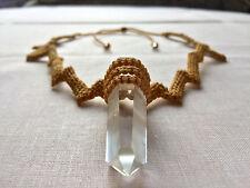 Micro Macrame Necklace Pendant Jewellery Natural Quartz Gemstone Crystal Handmad