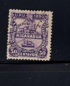 Nicaragua 1890  50c Locomotive Train Telegraph Used Sc 25