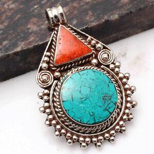 "Tibetan Turquoise Coral Ethnic Handmade Pendant Jewelry 2.32"" AP 93131"