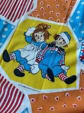 Vintage Raggedy Ann & Andy Twin Flat Sheet + Pillow  Case Craft material FABRIC