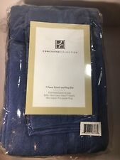Concierge Collection 7 Piece Towel And Rug Set - Navy Blue New